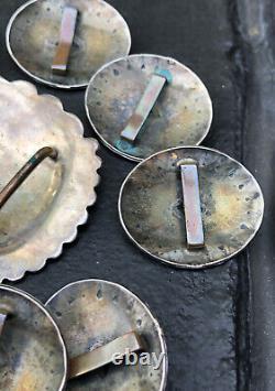 11 Vtg Fred Harvey Era Navajo Stamped Sterling Silver Concho Belt 106.8g