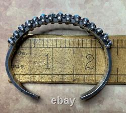 15TURQUOISE Stones STERLING Silver CUFF Bracelet FRED HARVEY Era