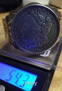 1889' Morgan Silver Extra Fine Condition Dollar Fred Harvey Nickel Cuff 54.3 Gr