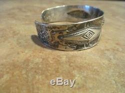 1910-1920's Fred Harvey Era Navajo Coin Silver Whirling Log Design Bracelet