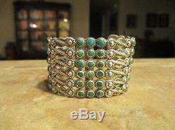 1920's FRED HARVEY ERA ZUNI Indian Handmade Cerrillos Turquoise DESIGN Bracelet