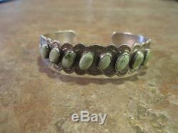 1920's Fred Harvey Navajo INDIAN HANDMADE IH Coin Silver Turquoise ROW Bracelet