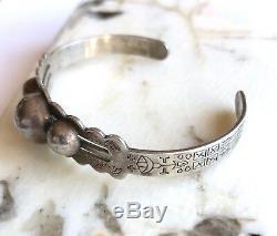 1920's Sanford Fred Harvey Era Southwestern Sterling Silver Cuff Bracelet 6.5