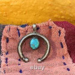 1920s Naja Pendant Blue Turquoise Fred Harvey Era Trading Post Silver Fat Heavy