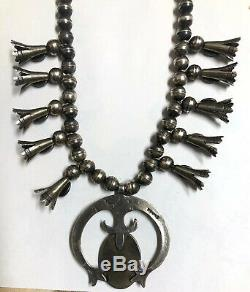 1930 Fred Harvey Era Old Pawn Sterling Silver Turquoise Squash Blossom Necklace