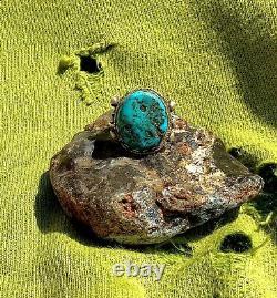 1930 Heavy Ingot Silver Navajo Ring VIVID BLUE Turquoise TAB FRED HARVEY ERA OLD