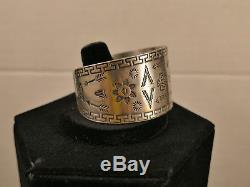 1930's Bell Trading Post Fred Harvey Silver Cuff Bracelet 29 Gms Tucson Estate