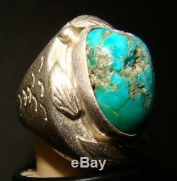 1930's Navajo Fred Harvey Era Silver/Blue Gem Turquoise Men's Ring Size 11