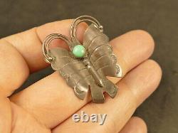 1930's Navajo Fred Harvey Turquoise Ingot Silver Butterfly Pin