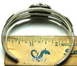 1930s BRACELET NAVAJO INDIAN FRED HARVEY ERA TURQUOISE STERLING SILVER CUFF