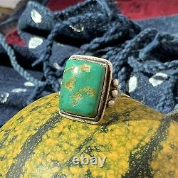 1930s Cerillos Big Green Turquoise Navajo Silver Ring Fred Harvey Pawn Old Era