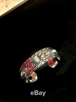 1930s Fred Harvey Style American Indian Thunderbird Turquoise Silver Unisex Cuff