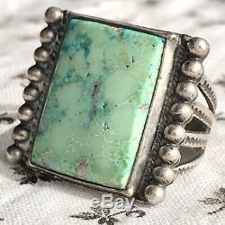 1930s Light Green Turquoise Rectangle Silver Ring Fred Harvey Trading Post Old