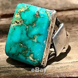 1930s Mens Vivid Royston Blue Turquoise Big Huge Ingot Silver Ring Fred Harvey