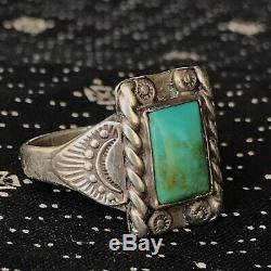 1930s Navajo Pawn Silver Blue Green Turquoise Small Fred Harvey Era Old Ring