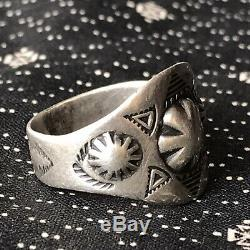 1930s Stamped Petite Repousse Cigar Band Silver Ring Fred Harvey