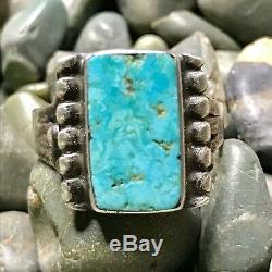 1930s Vivid Light Blue Turquoise Rectangle Ingot Silver Ring Fred Harvey Pawn