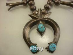 1940's Fred Harvey Era Sterling Silver Squash Blossom Necklace Turquoise Naja