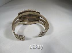 1940's Fred Harvey Navajo Petrified Wood Sterling Silver Cuff Bracelet