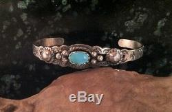 1940's NAVAJO TURQUOISE STERLING SILVER EXTRA SMALL SIZE FRED HARVEY BRACELET