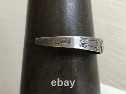 1940s FRED HARVEY Native Repousse Turquoise Sterling Silver Cuff Bracelet Stamp