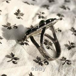 1940s Harvey Green Zuni Fred Tourist Small Star Pattern Turquoise Silver Ring