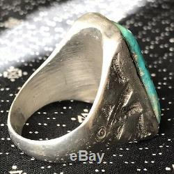 1940s Mens Big Blue Long Vivid Royston Turquoise Fred Harvey Heavy Silver Ring