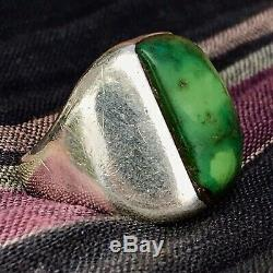 1940s Mens Many Greens Turquoise Big Sandcast Heavy Old Fred Harvey Silver Ring