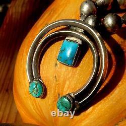 1940s Naja Pendant Blue Turquoise Fred Harvey Era Navajo Early Old Ingot Silver