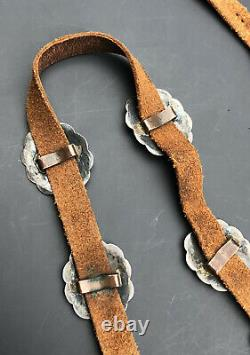 1940s Navajo Fred Harvey Era Sterling Silver Stamped Concho Leather Hatband Belt