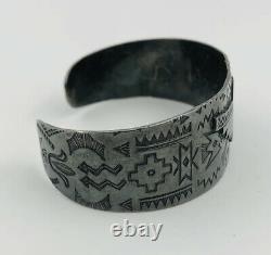 1943 Fred Harvey Era Navajo Sterling Silver Stamped Thunderbird Cuff Bracelet