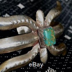 1950s Spider Sandcast Turquoise Silver FRED Harvey Era Wide Simple Cuff Bracelet