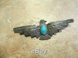 2 5/8 REAL OLD Fred Harvey Era Navajo Sterling Silver Turquoise THUNDERBIRD Pin