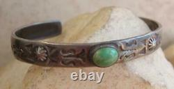 2 Antique NAVAJO COIN SILVER TURQUOISE CHILD or BABY Bracelets Fred Harvey Era