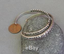 2 Vintage Southwestern Fred Harvey Era Silver Stamped Beaded Cuff Bracelets Pair