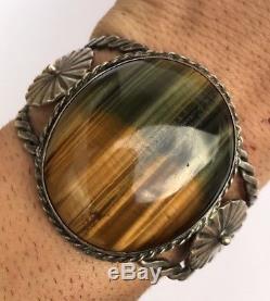 2 WIDE Vintage OLD Navajo Fred Harvey Sterling Silver Tigers Eye Cuff Bracelet