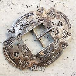 30s 40s Fred Harvey Era Vintage Belt buckle Old Pawn Coin Sterling Silver Navajo