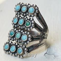 30s 40s Fred Harvey Sterling Silver Turquoise Zuni Ring Snake Old Pawn vintage
