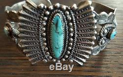30s 40s Navajo Sterling Silver Fred Harvey Old Pawn Stamped Bracelet 38 grams