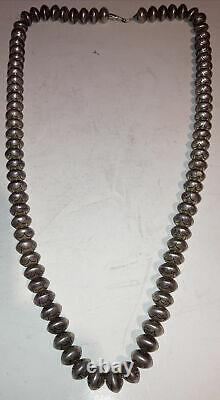 33.5 Navajo Old Pawn Stamped Beads Necklace Sterling Silver Fred Harvey era