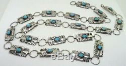 35 Old Pawn Fred Harvey Era Sterling Silver Turquoise Stamped Belt or Necklace