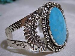 39G Fred Harvey Era NAVAJO STERLING Silver Natural BLUE GEM TURQUOISE Gem CUFF