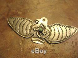 3 3/8 Rare Old Fred Harvey Era Navajo Silver WHIRLING LOG THUNDERBIRD Pin