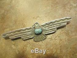 3 REAL OLD Fred Harvey Era Navajo Sterling Silver Turquoise THUNDERBIRD Pin