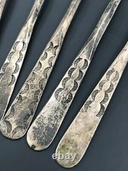 (5) OLD PAWN 1940's FRED HARVEY ERA NAVAJO STERLING SILVER STAMPED SPOON SET
