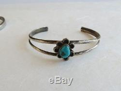 5 vintage Navajo sterling silver coral turquoise cuff bracelet lot Fred Harvey