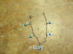 7 REAL OLD Fred Harvey Era Navajo Sterling Silver Turquoise CHARM Bracelet
