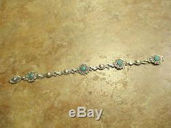 7 Scarce OLD Fred Harvey Era Navajo Sterling Silver Turquoise LINK Bracelet