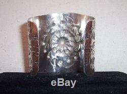 AMAZING Fred Harvey Era EXTRA WIDE Navajo Sterling Silver Stamped Cuff Bracelet