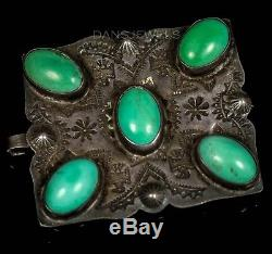 ANTIQUE! Fred Harvey Navajo Thunderbird Turquoise Sterling Silver Belt Buckle